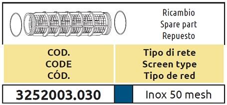 Tabella CARTUCCIA 3252003.030 ARAG