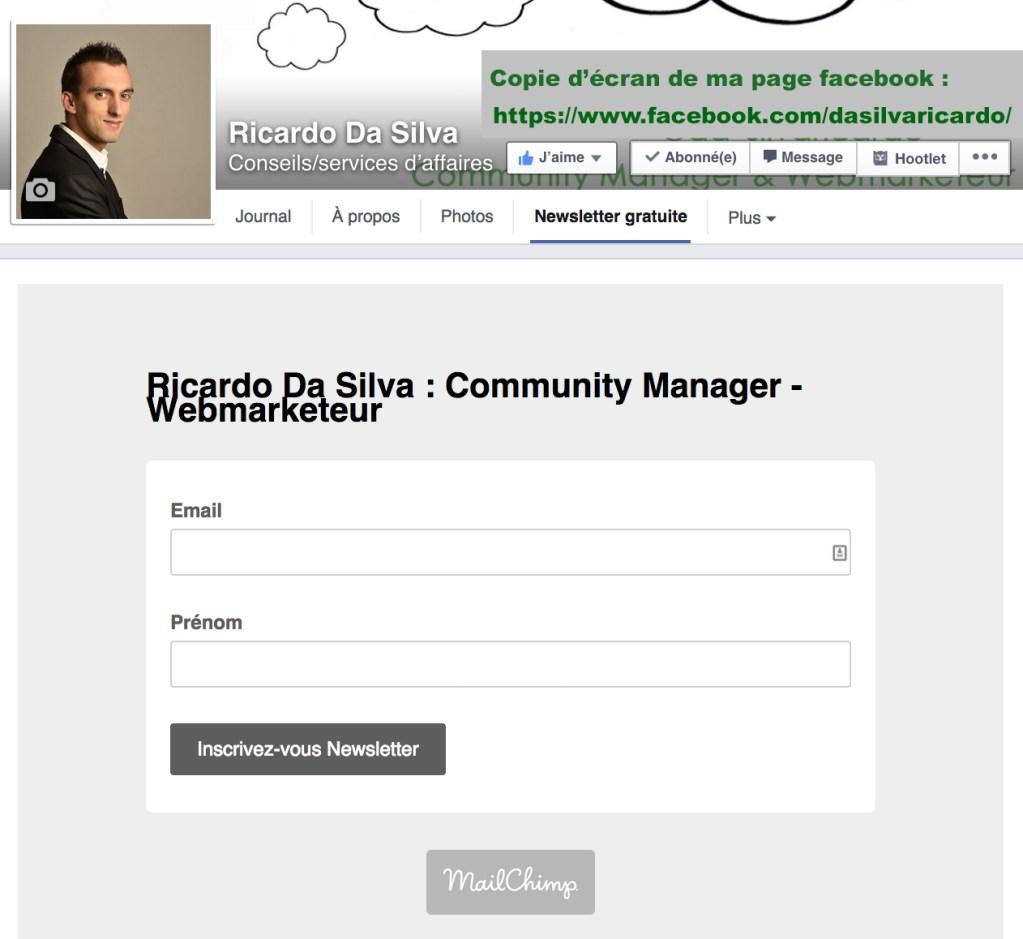 Comment ajouter un formulaire d'inscription à votre newsletter sur Facebook avec mailchimp ?