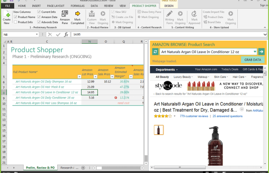 Screenshot of Product Shopper in Excel