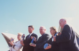 12 Aug 2000: Australian medal winners (from left) Sandra Morgan (1956 Gold), Ian Brown (1976 Bronze), Kevin Berry (1964 Gold), Danielle Roche (1996 Gold) and Peter Norman (1968 Silver) with medals during a press conference at the Sydney Opera House in Sydney, Australia. Mandatory Credit: Adam Pretty/ALLSPORT