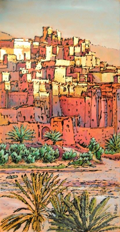 casbah tramonto - 30x60 - acrylic and glaze on canvas - 2011