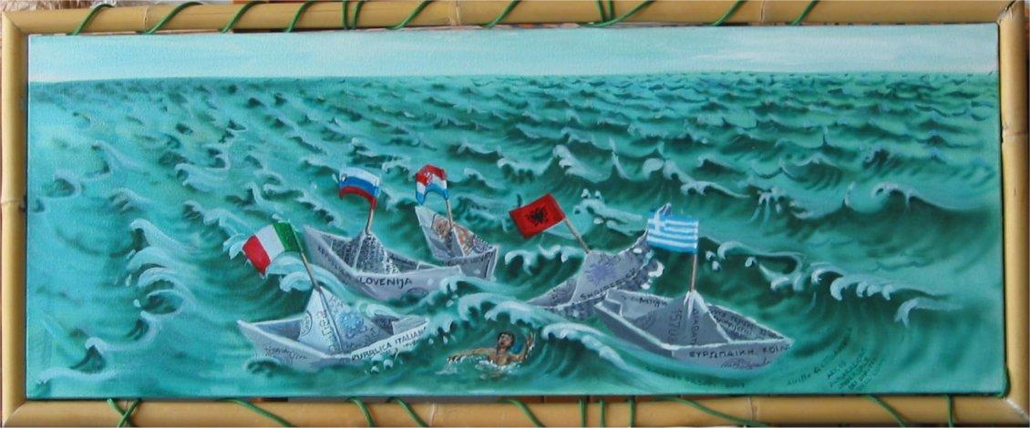 diritto di cittadinanza - 100x40 - oil on canvas - 2005