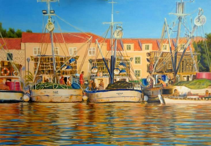 pescatori al porto di Vela Luka - 90x60 - oil on canvas