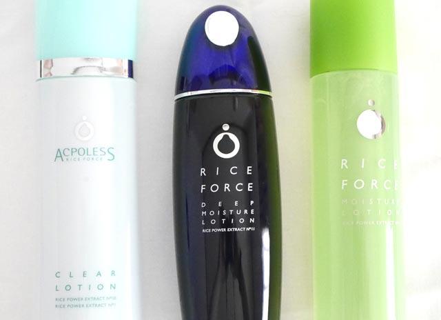 ライスフォースとアクポレスとモイスチュアの化粧水ボトル