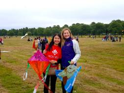 Happy kite flyers