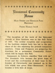 Community House pamphlet Louise Moore