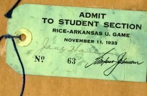 Mary Jane Hale Rommel 1933 ticket
