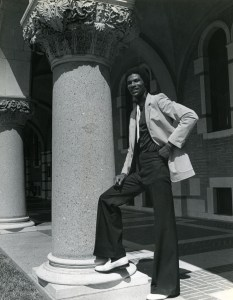 Student in front of Lovett nd but 70s