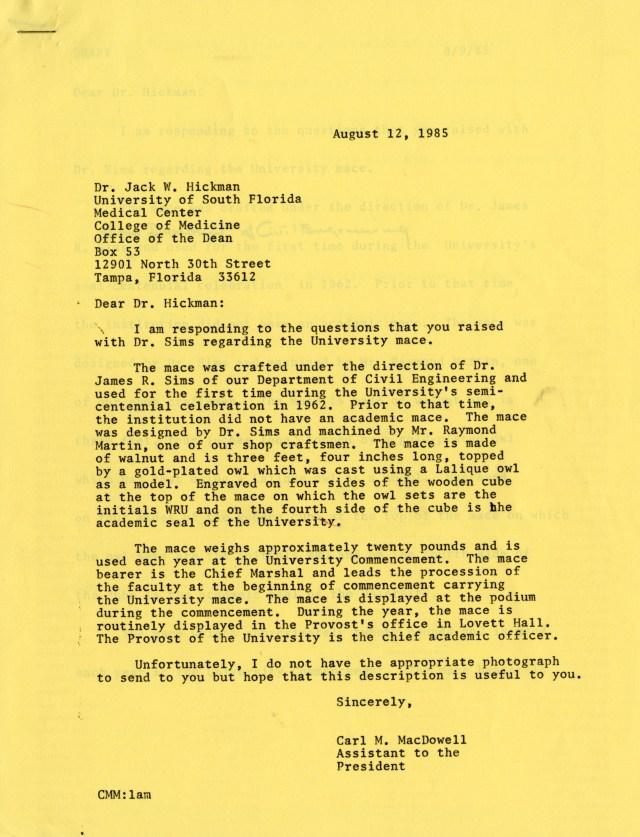 Mace letter Carl McDowell 1985