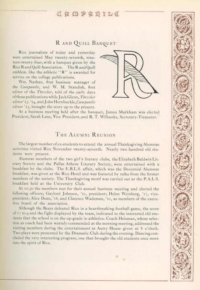 1925 Alumni Thanksgiving reunion