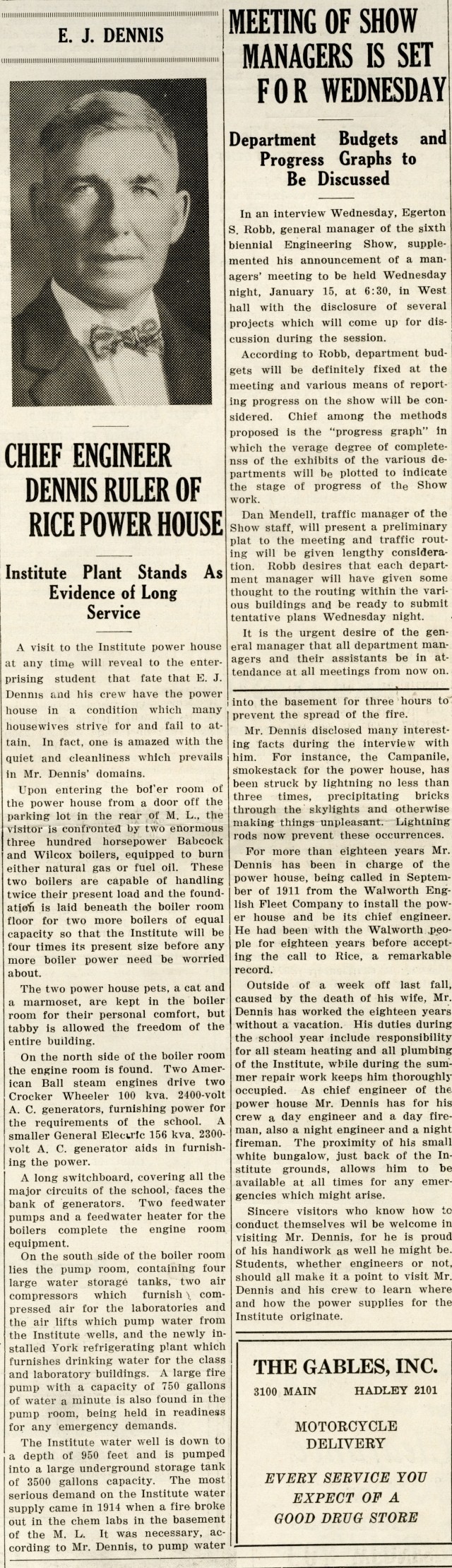 Power plant Mr Dennis Thresher January 10 1930