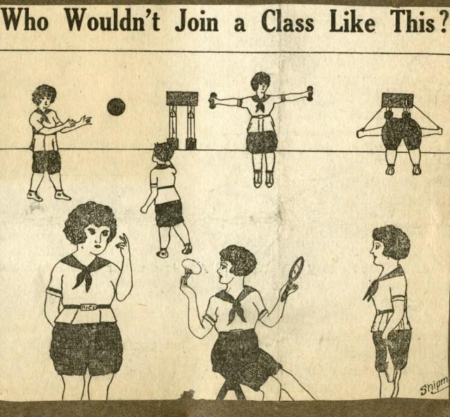 Girl's gym class cartoon