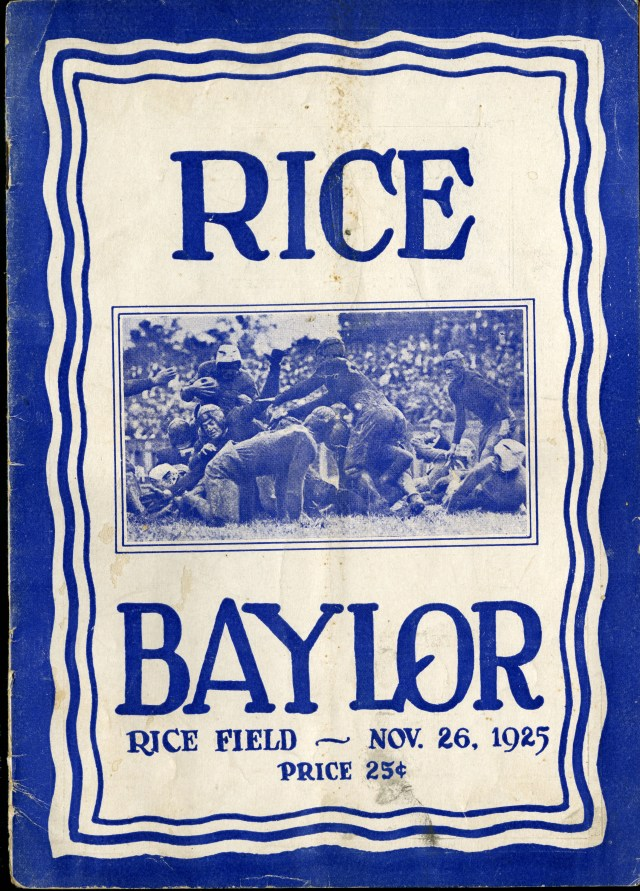 New Thanksgiving 1925 Baylor game cover