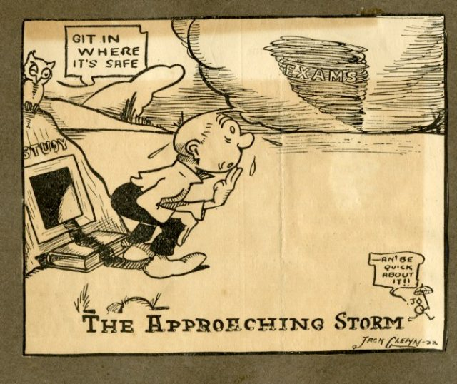 Jack Glenn exam cartoon Autry scrapbook 1922 055