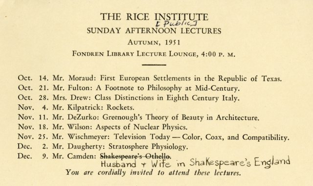 Sunday Afternoon Lectures 1951 info file 054