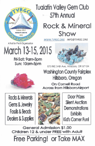 Tualatin Valley Gem Club 57th Annual Rock and Mineral Show flyer.