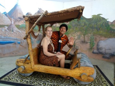 Fred and Wilma Flintstone in Flintmobile at Rice Northwest Rock and Minerals Museum (1)