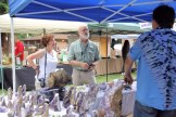Julian Gray and Barb Epstein visit a vendor booth.