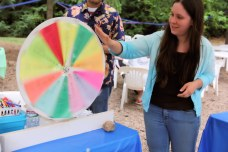 The children play area featured a roulette wheel for the children to win a rock or mineral.