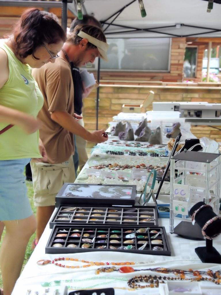 Vedor exhibit of rocks and jewelry.