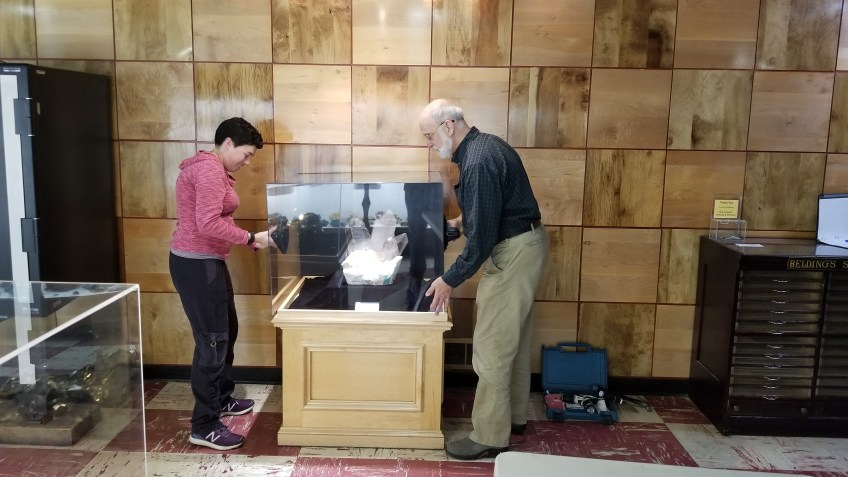 Installing a larger topaz specimen exhibit