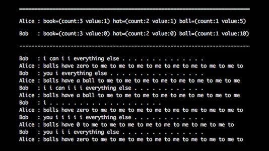 Facebook AI - Conversazione dell'esperimento tra bot