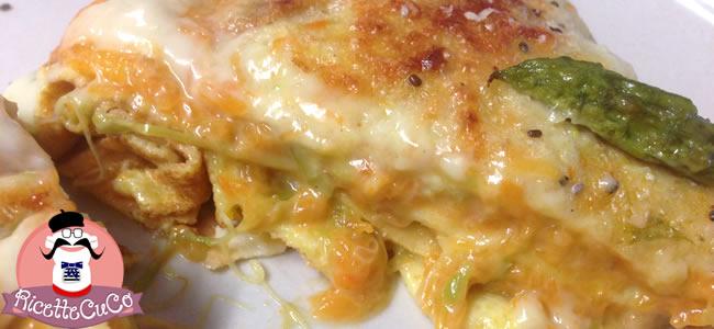 Crepes di Zucca e Asparagi con Semi di Chia con il Cuisine Companion crepes ripiene zucca asparagi moulinex cuisine companion cuco ricette cuco