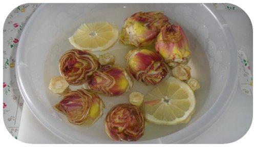 carciofi in acqua fredda e limone