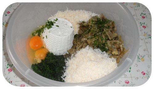 ingredienti per il ripieno della torta di carciofi