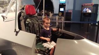 Rylan flying a simulator
