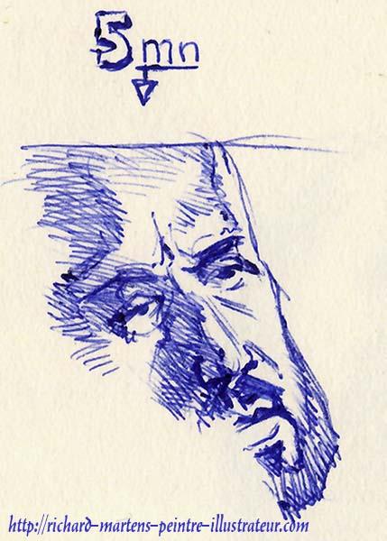 Un portrait inachevé, dessiné en 5 minutes, au stylo-bille bleu, devant la télévision, par Richard Martens, le 18 juin 2016.