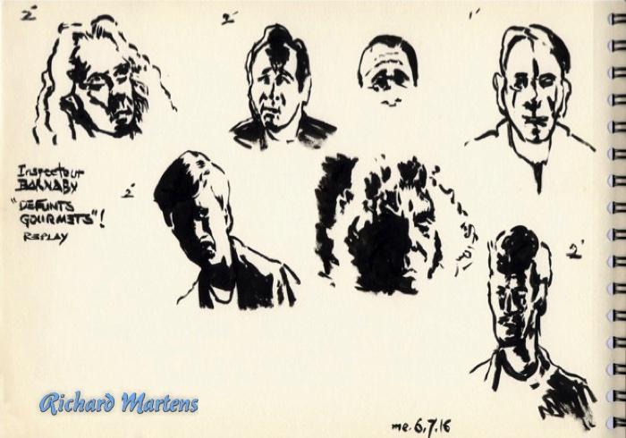 Quelques portraits dessinés directement au pinceau, par Richard Martens, le 6 juillet 2016, pendant la rediffusion d'une série policière.