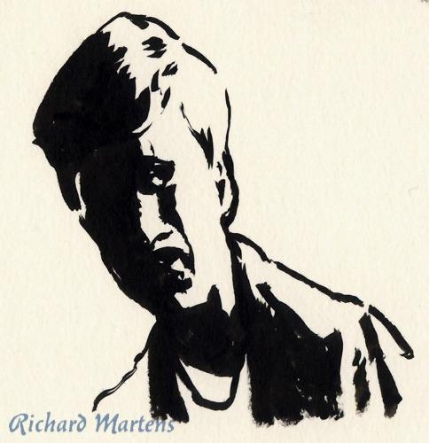 Portrait dessiné directement au pinceau, par Richard Martens, le 6 juillet 2016, d'un personnage d'une série policière.