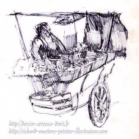 """Croquis au feutre d'un marchand des """"quat'saisons"""", rue Mouffetard à Paris, par Richard Martens. Circa 1974."""