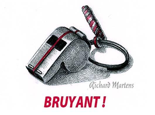 """Dessin d'un sifflet pour """"Bruyant"""", au stylo-bille noir, avec ajout de rouge, par Richard Martens, pour #INKtober2016 nº 2. #thefrenchINKtober #thefrenchINKtober2016 #INKtober #INKtober2016 @jakeparker #RichardMartens"""