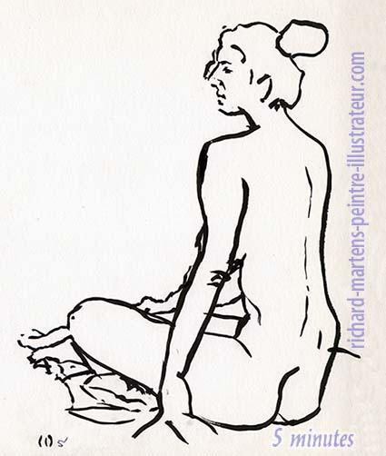 """Dessin de nu pour """"Cueillette"""", au pinceau à encre noire, par Richard Martens, pour #INKtober2016 nº 3 a. #thefrenchINKtober #thefrenchINKtober2016 #INKtober #INKtober2016 @jakeparker #RichardMartens"""