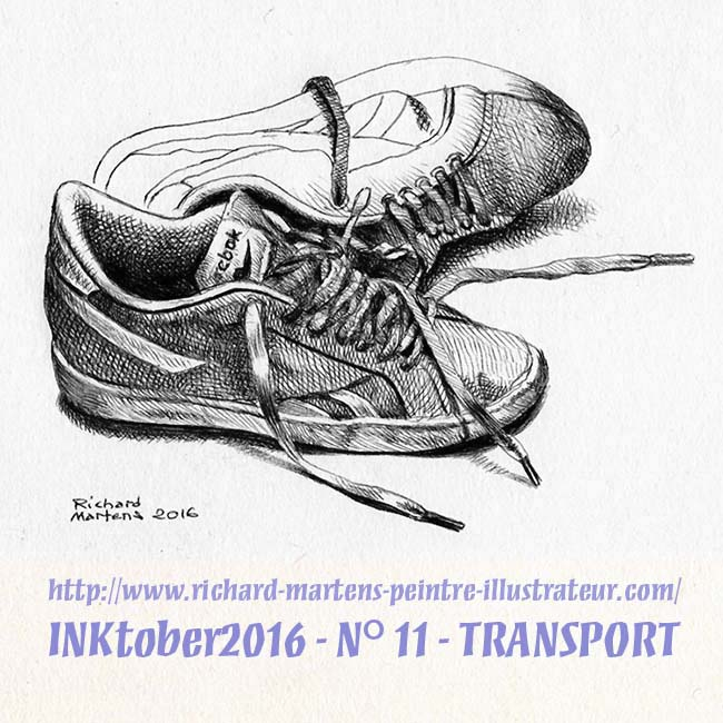 """Dessin réalisé au stylo-bille noir sur papier blanc, par Richard Martens, pour #INKtober2016 nº 11 : """"Transport"""". #thefrenchINKtober #thefrenchINKtober2016 #INKtober #INKtober2016 @jakeparker #RichardMartens"""