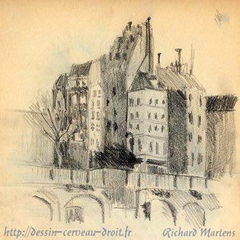 Dessin au crayon noir, d'immeubles à Paris, sur les quais, par Richard Martens, circa1971.