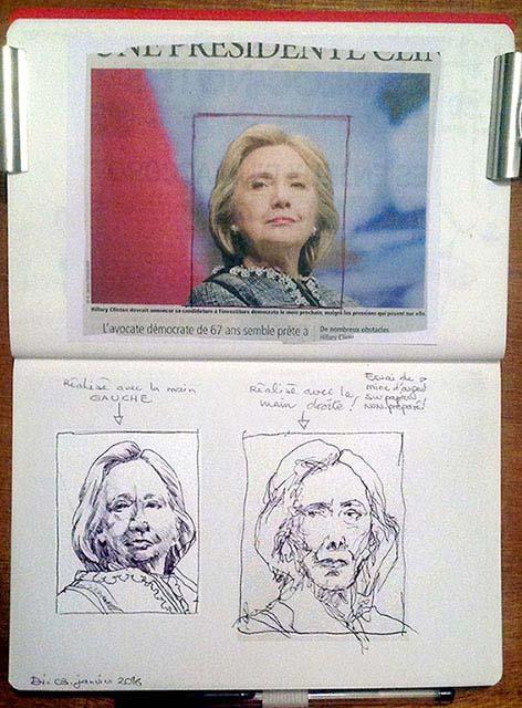 Deux copies/dessins à partir d'une même photo, de la main gauche et de la main droite, au stylo-bille, par Richard Martens.