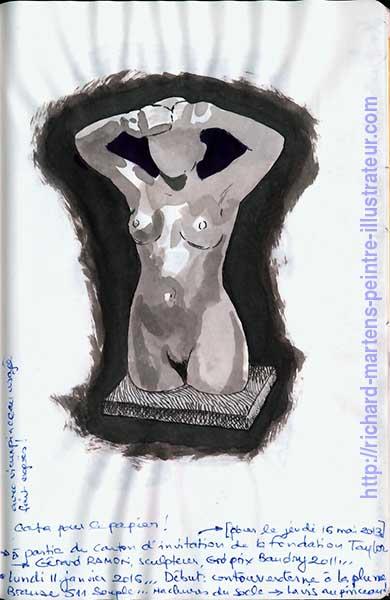 Dessin à partir d'une photo d'une statue de jeune femme, réalisé au lavis, par Richard Martens.