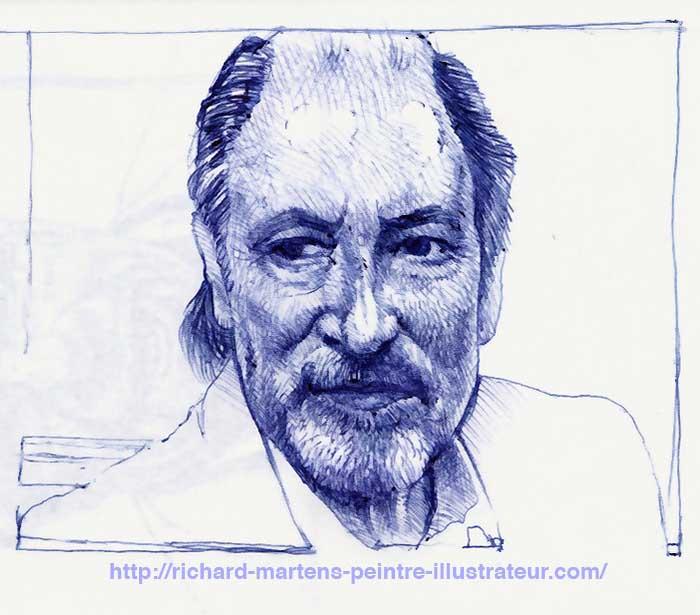Portrait de Michel Delpech, réalisé au stylo-bille bleu, à partir d'une photo, par Richard Martens.