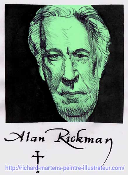 Portrait d'Alan Rickman, réalisé au stylo-bille noir, à partir d'une photo, sur un Post-it vert, par Richard Martens.