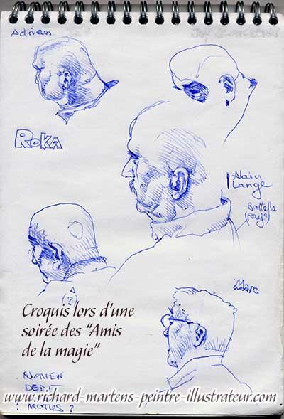 """Croquis d'observation, réalisés au stylo-bille bleu, par Richard Martens, lors d'une soirée mensuelle des """"Amis de la magie""""."""