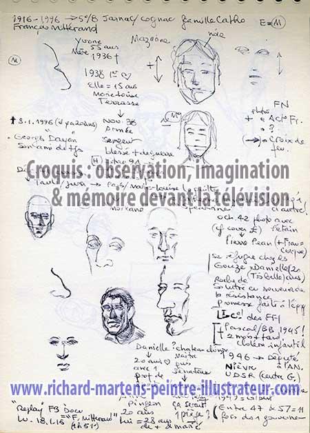 Croquis d'observation, d'imagination et de mémoire par Richard Martens, réalisé au stylo-bille noir, pendant la diffusion d'un documentaire à la télévision.
