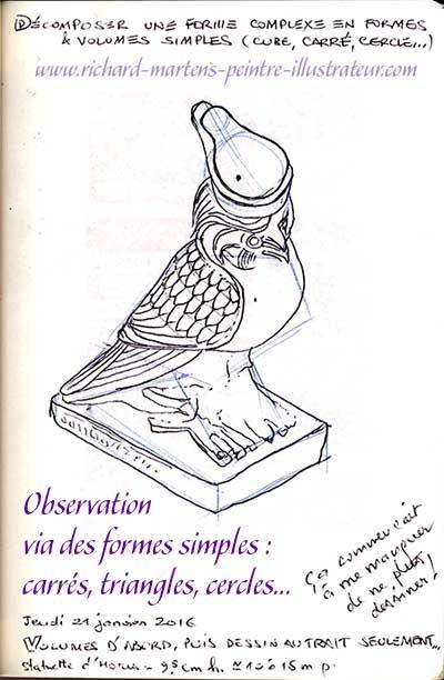 Dessin d'observation, réalisé au stylo-bille noir, par Richard Martens, d'une statuette d'Horus en résine.
