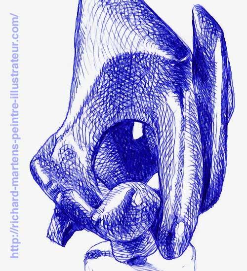 Détail d'un dessin de Richard Martens, réalisé au stylo-bille bleu, à partir d'une photo d'une sculpture de François Bouché.
