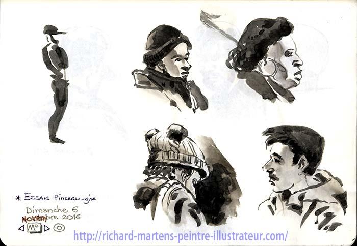 Croquis au lavis de voyageurs dans le métro Parisien, par Richard Martens.