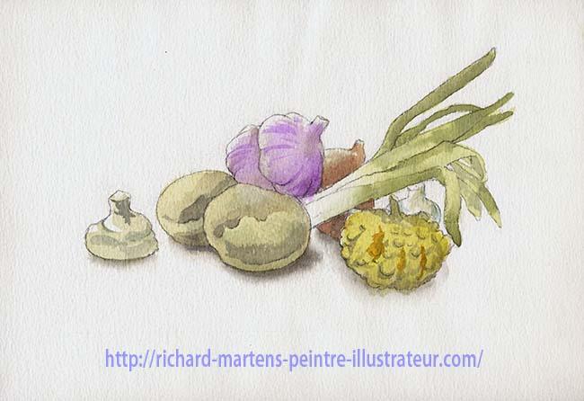 Nature morte à l'aquarelle, par Richard Martens, version 1.