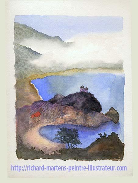 Paysage Corse à l'aquarelle, par Richard Martens, en 2017.