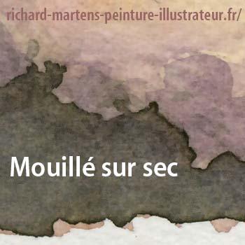 """Aquarelle posée en """"mouillé sur sec"""", par Richard Martens."""